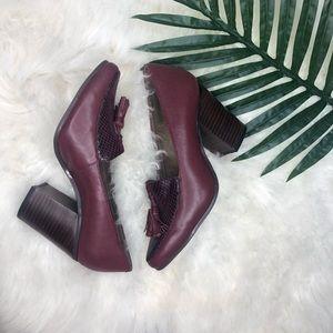 Aerosols leather burgundy chunky heels